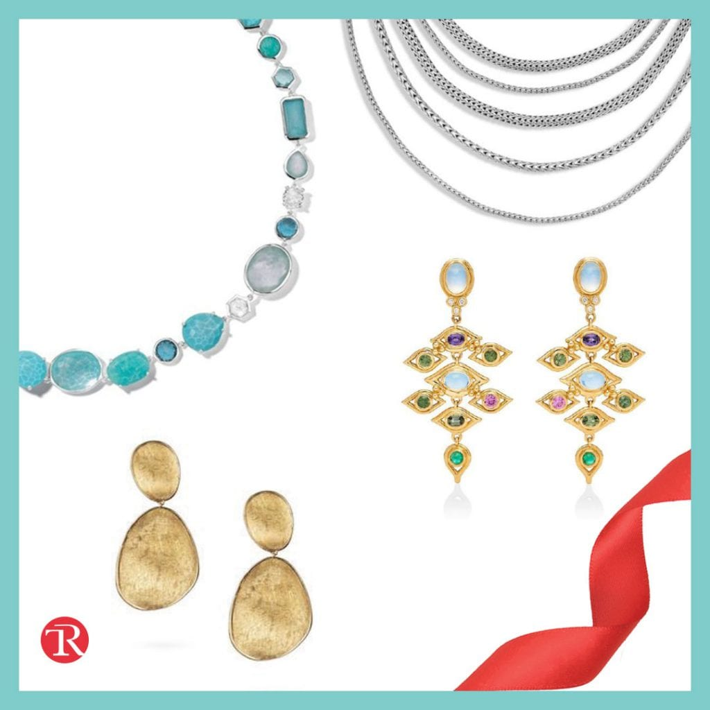 """Photo of statement jewelry from the """"make a statement"""" jewelry trend. There is twisted red ribbon in bottom right corner. Silver chain necklaces are show at the top right. A stone blue and white stone necklace is shown in the top left corner. Gold drop earrings are shown in the bottom left corner. Gold chandelier earrings with gemstones are show in the right middle."""