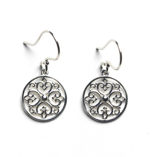 Southern Gates Sterling Silver Round Heart Design Earrings