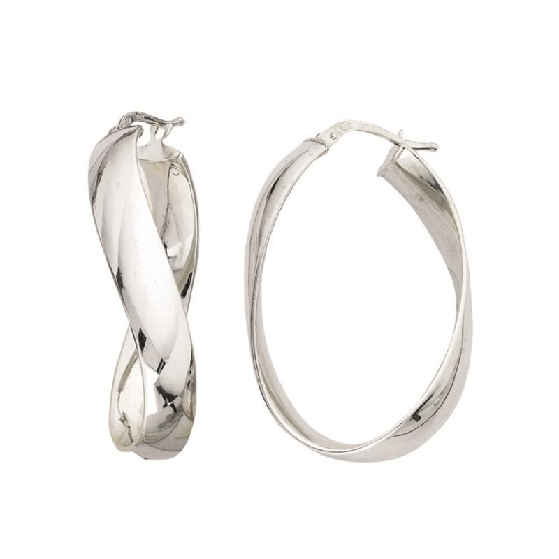 Sterling Silver Flat Twist Hoop Earrings