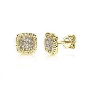 Twisted Cluster Diamond Stud Earrings