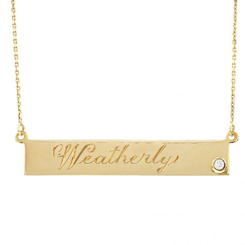 Bailey's Heritage Collection Bar Plate Diamond Necklace
