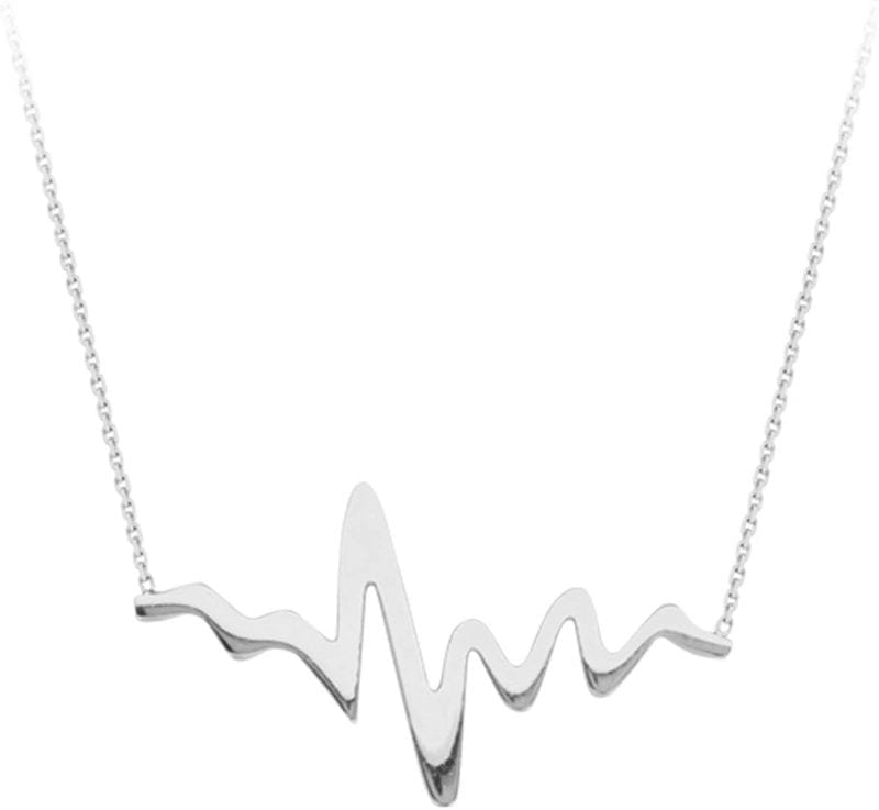 Sterling Silver Heartbeat Pendant Necklace
