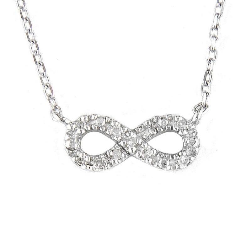 Sterling Silver Diamond Infinity Pendant Necklace