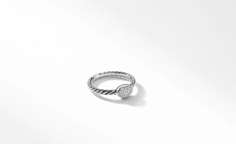 Petite Pave Oval Ring with Diamonds, Size 7