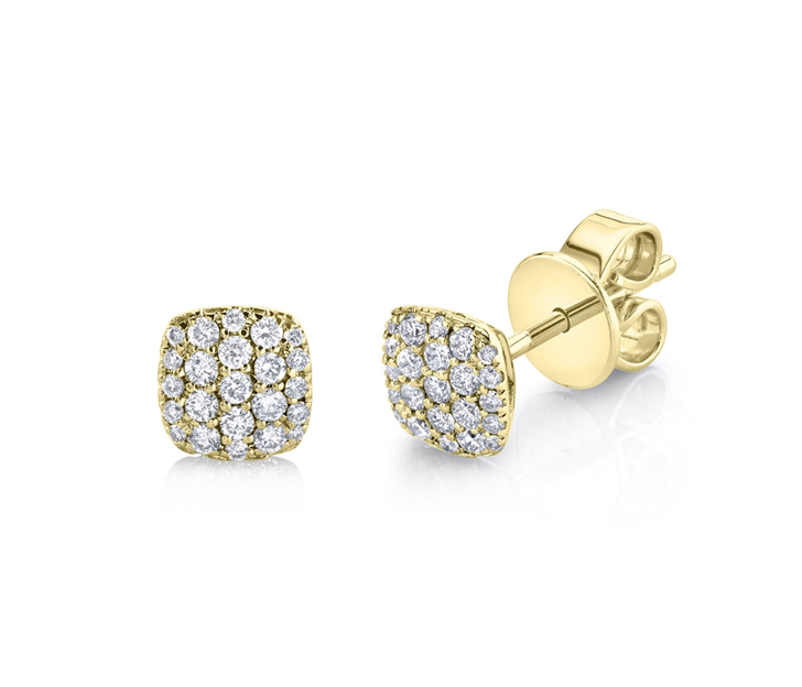 Pave Cushion Stud Earrings in 14kt Yellow Gold
