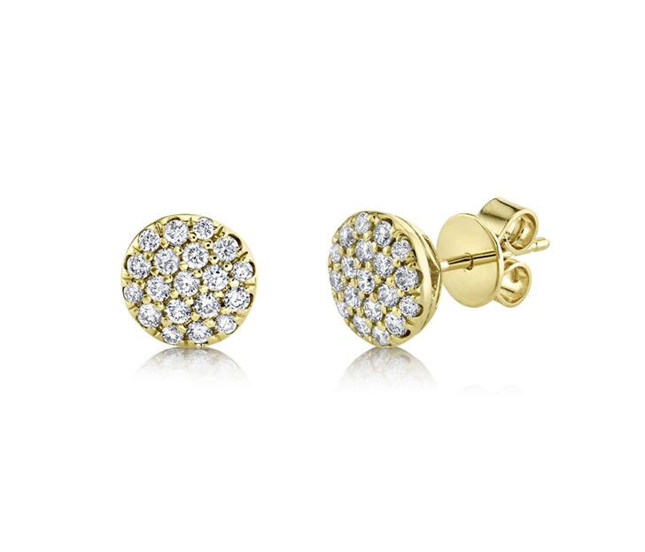 14k Yellow Gold Pave Diamond Stud Earrings