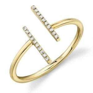 Bailey's Goldmark Collection Diamond T Bar Ring in 14k Yellow Gold