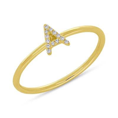 Diamond Initial Ring in 14k Yellow Gold