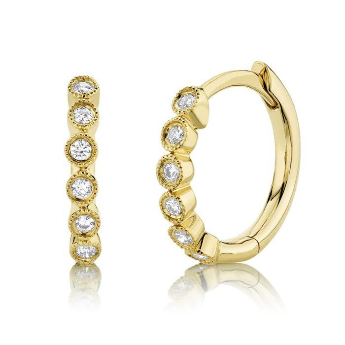 Diamond Milgrain Huggie Hoop Earrings