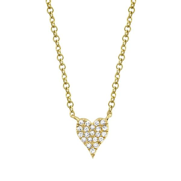 Pave Diamond Heart Necklace in 14k Yellow Gold