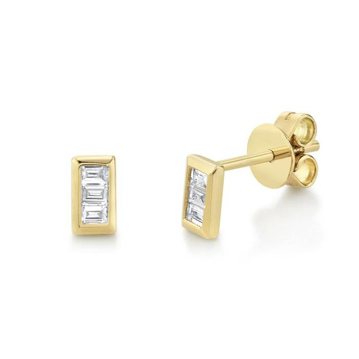 Bailey's Icon Collection Baguette Stud Earrings in 14k Yellow Gold