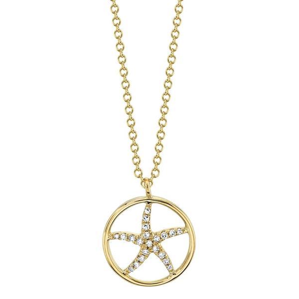 Diamond Starfish Pendant Necklace in 14k Yellow Gold