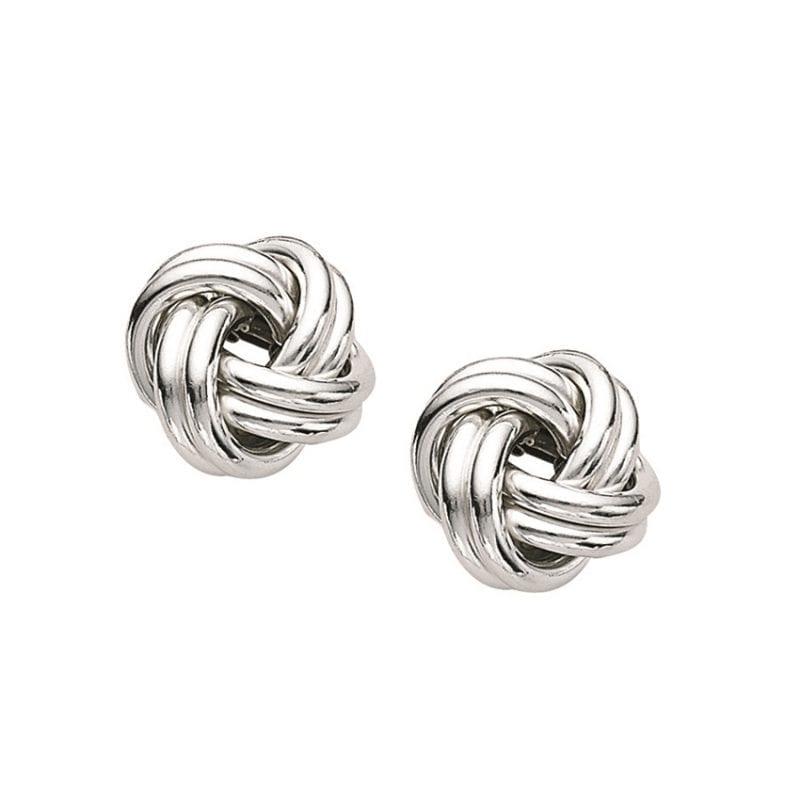Polished Sterling Silver Knot Stud Earrings