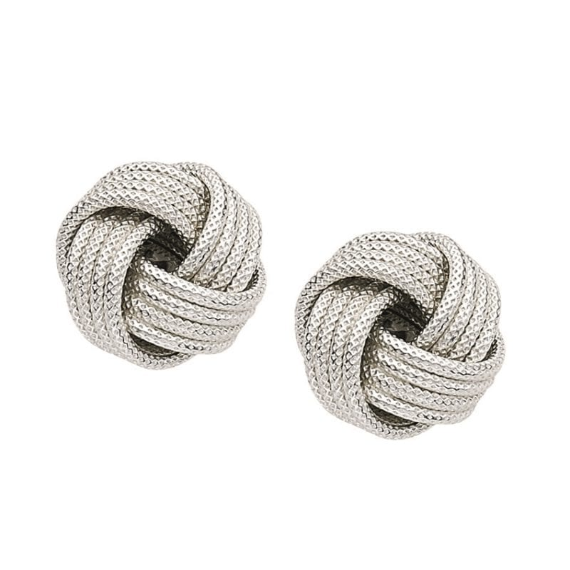 Textured Knot Stud Earrings in Sterling Silver