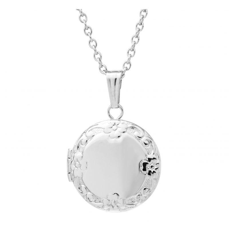 Sterling Silver Engravable Locket Pendant Necklace