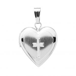 Engraved Cross on Heart Locket Necklace