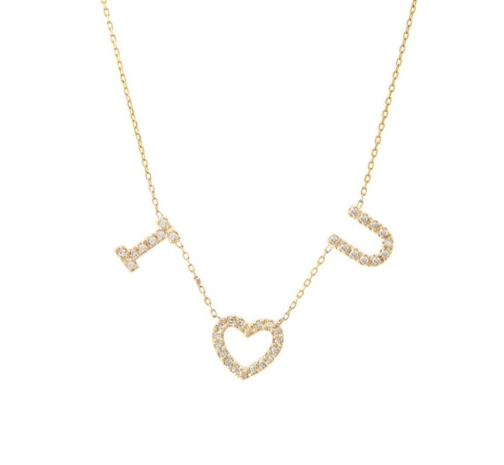 Three Letter Diamond Initial Necklace