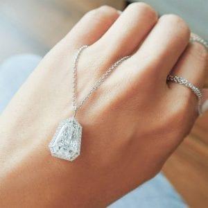 Shield Diamond Pendant Necklace