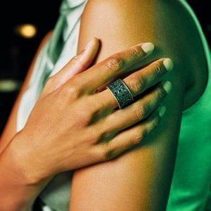 Freida Rothman Midnight Cigar Band Ring