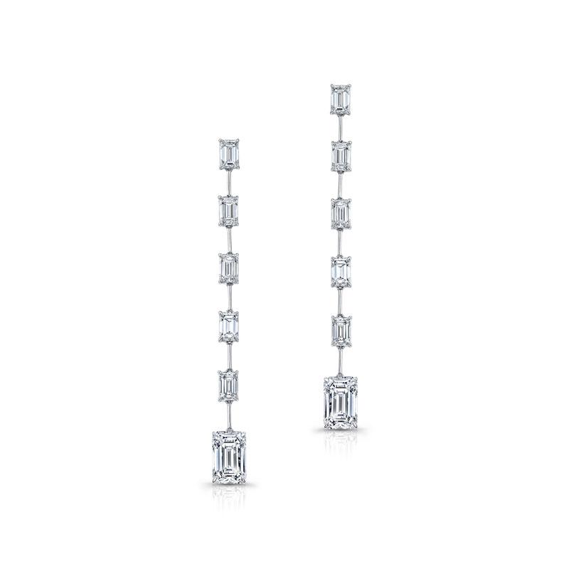 Emerald Cut Diamond Bar Dangle Earrings