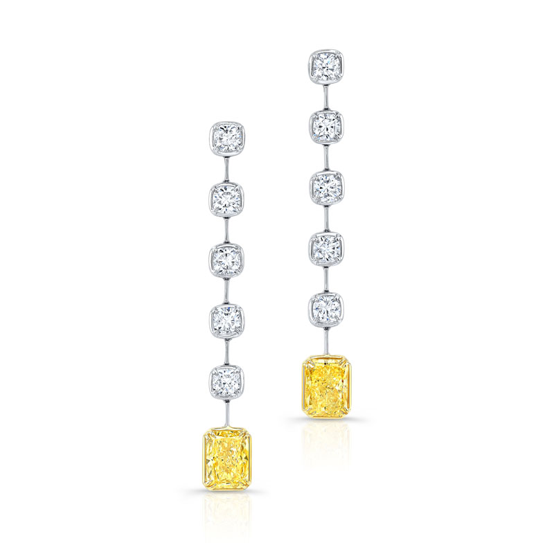 Radiant Yellow Diamond Bar Dangle Earrings