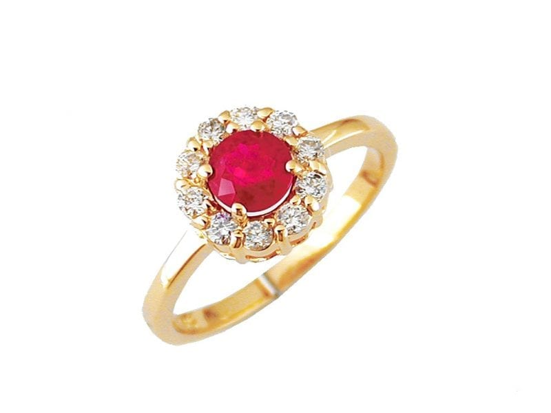 Round Ruby & Diamond Halo Ring in 14k Yellow Gold