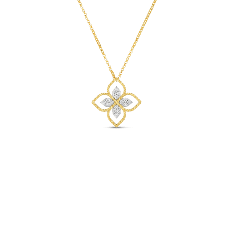 Roberto Coin 18k Principessa Small Flower Pendant Necklace With Diamonds