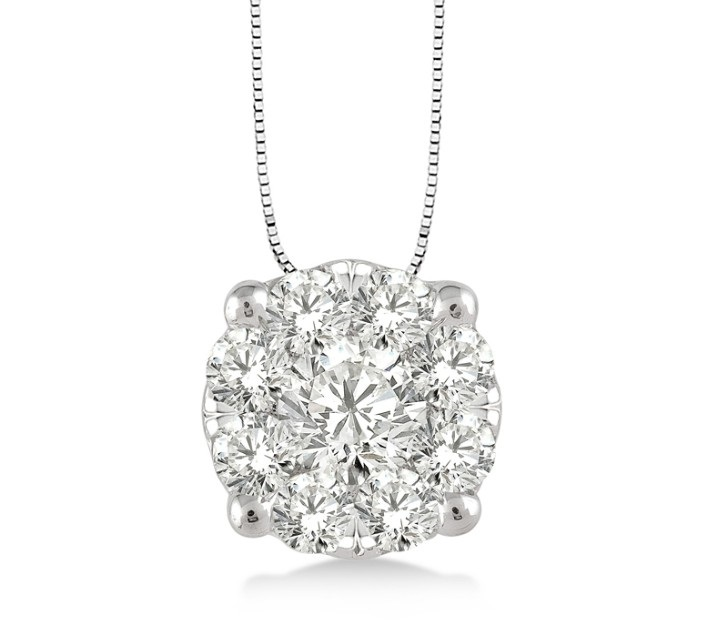 Clustered Diamond Pendant Necklace in 14k White Gold