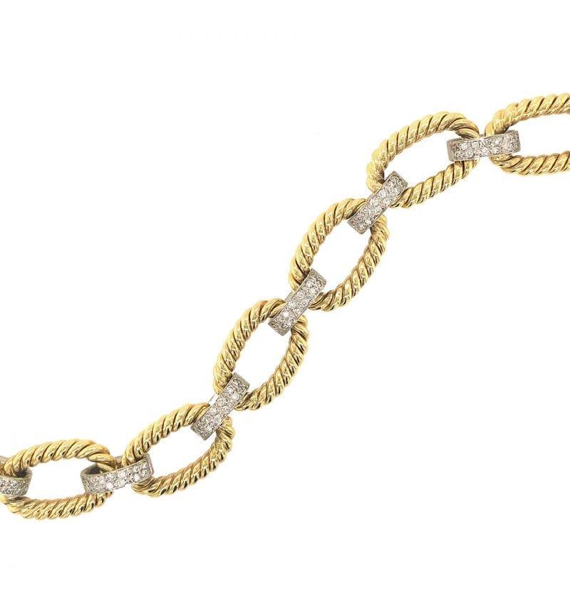 14k Pave Diamond Cable Link Bracelet