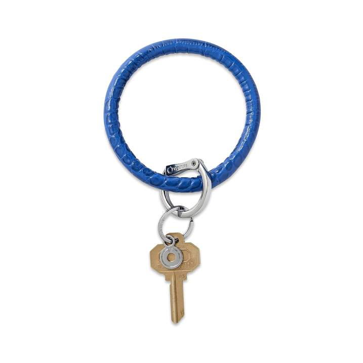 Leather Big O Key Ring in Sapphire Croc