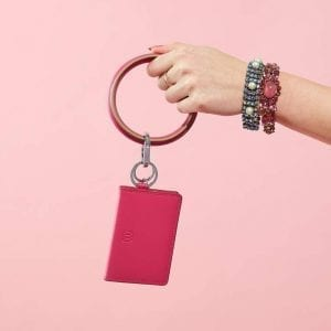 Leather Big O Key Ring in Tickled Pink