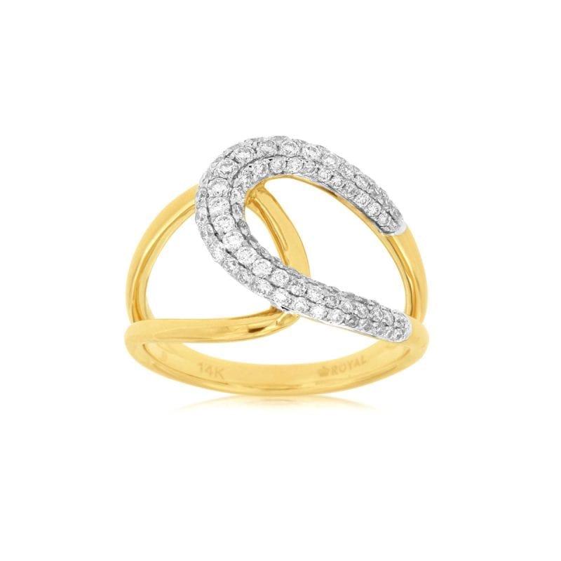 14k Pave Diamond Loop Ring