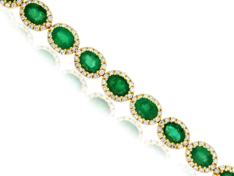 Oval Emerald & Diamond Bracelet in 14k Yellow Gold