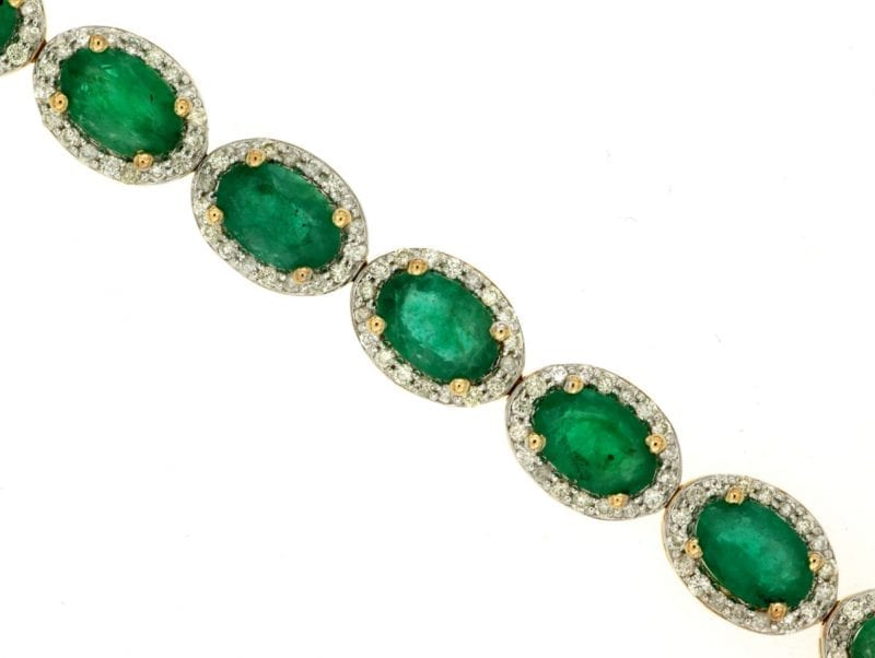 Emerald & Diamond Halo Bracelet in 14k Yellow Gold