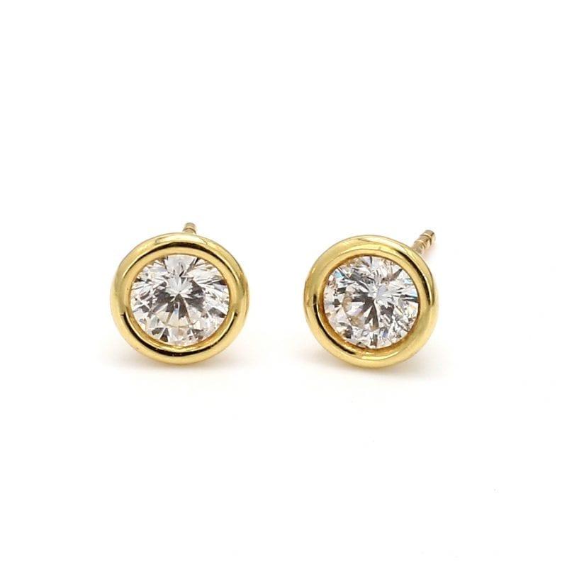 Bezel Set Diamond Stud Earrings in 18k Yellow Gold