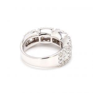 Five Diamond Halo Ring in 14k White Gold