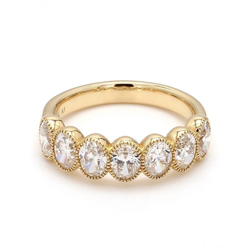 Seven Stone Diamond Ring in 14k Yellow Gold