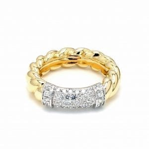 18k Twisted Ring with Pave Diamonds
