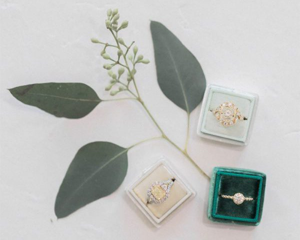 engagement rings in various shades of green velvet boxes with green leaf decor