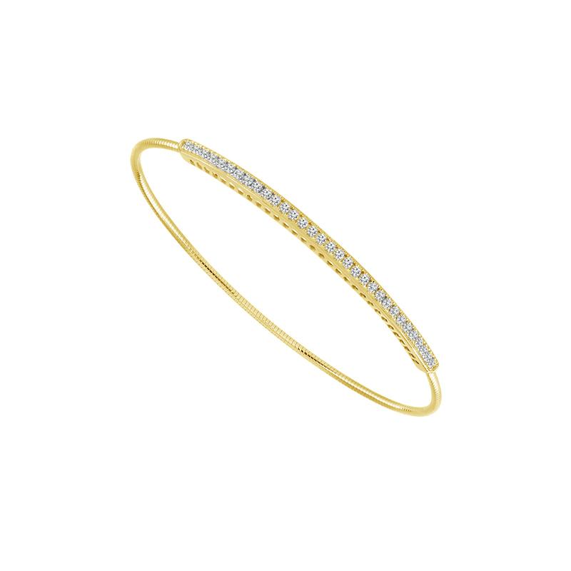 Diamond Bar Wire Bangle Bracelet in 14k Yellow Gold