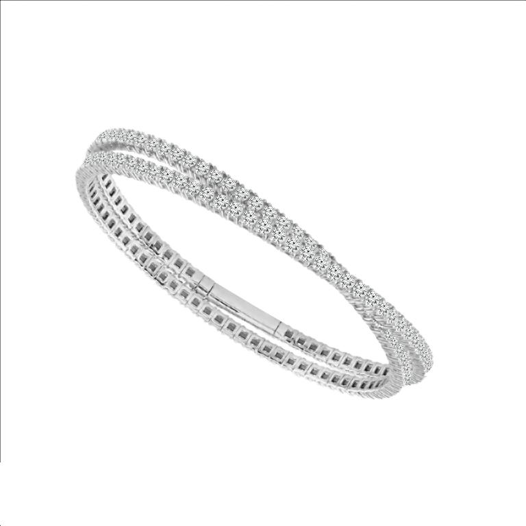 Crossover Diamond Bracelet in 14k White Gold