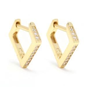 CZ Pentagon Hoop Earrings