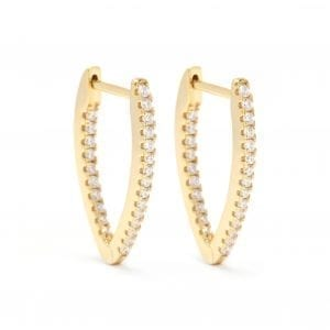 CZ V-Shaped Hoop Earrings