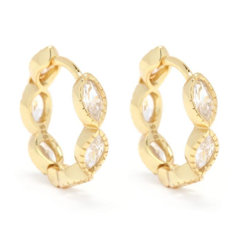 Marquise CZ Huggie Hoop Earrings