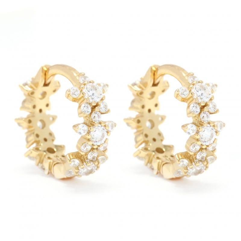 Flower Huggie Hoop Earrings