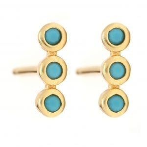 18k Yellow Gold Plated Three Stone Stud Earrings