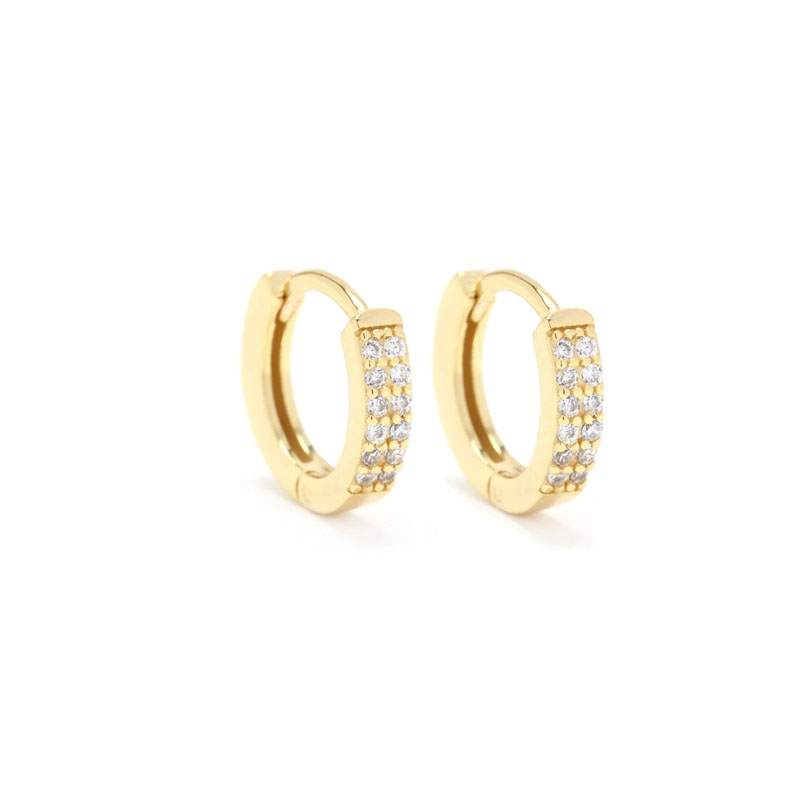 Yellow-Gold-Plate-Huggie-Earrings- with-two-rows-of-cz-stones-on-front