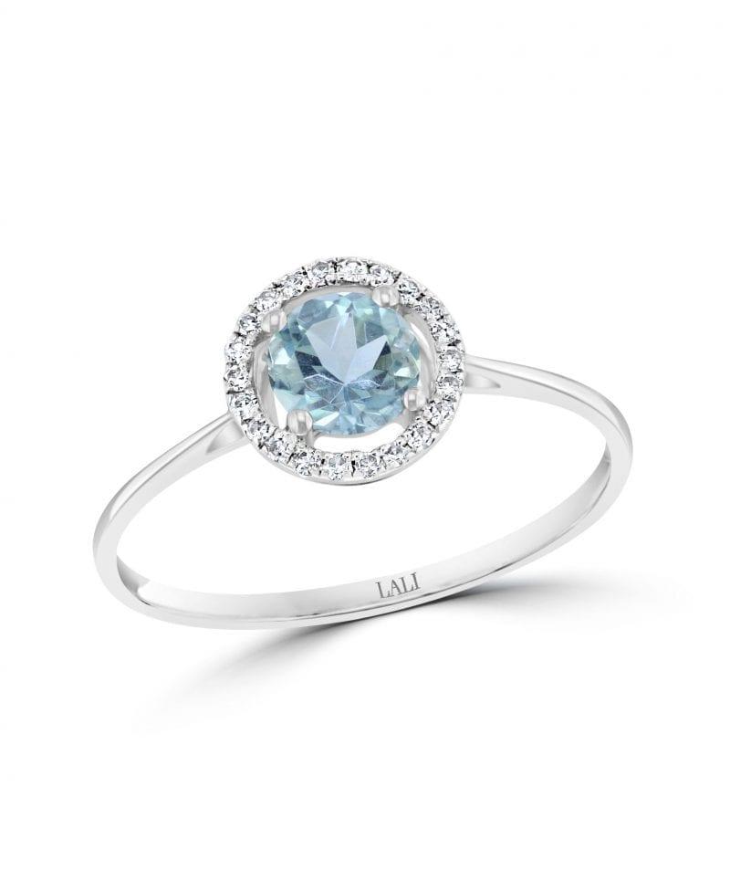 Aquamarine & Diamond Halo Ring in 14k White Gold