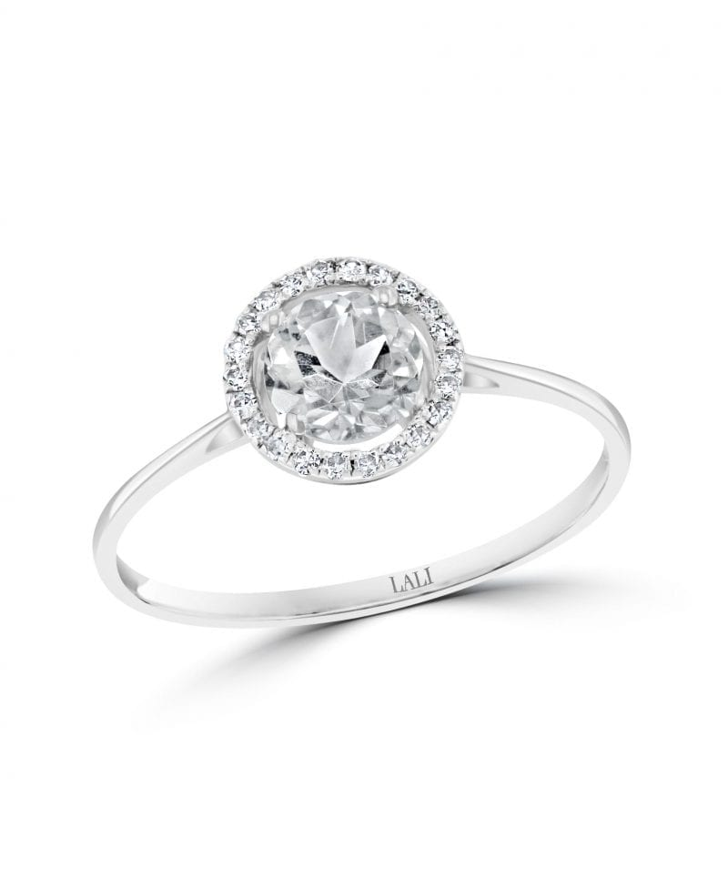 White Topaz & Diamond Halo Ring in 14k White Gold
