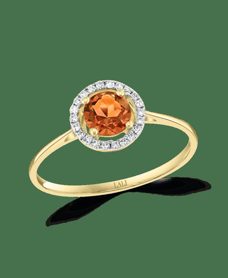 Citrine & Diamond Halo Ring in 14k Yellow Gold